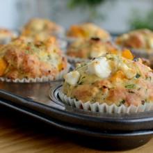 Muffins de calabaza y queso feta